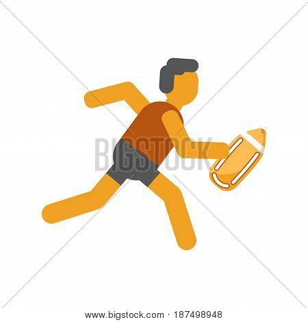 Person running with safety yellow board in hand isolated on white. Faceless man in dark shorts and vest move fast to help other people. Beach lifeguide work template vector flat illustration