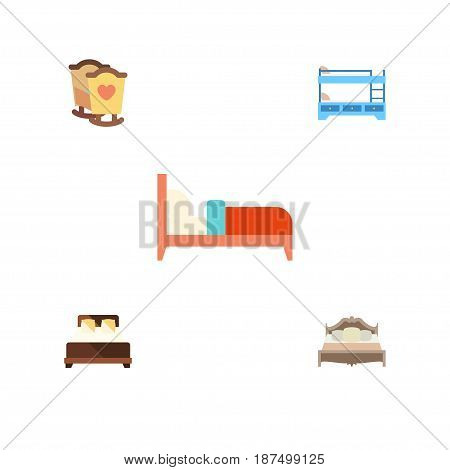 Flat Mattress Set Of Bedroom, Bearings, Bunk Bed And Other Vector Objects. Also Includes Hostel, Crib, Cot Elements.