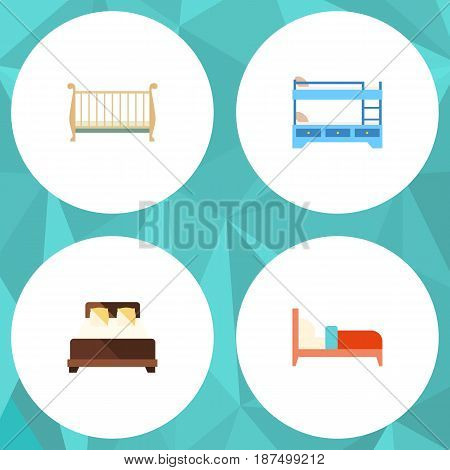 Flat Bed Set Of Cot, Mattress, Bearings And Other Vector Objects. Also Includes Crib, Hostel, Bed Elements.