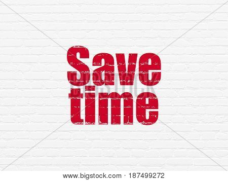 Time concept: Painted red text Save Time on White Brick wall background