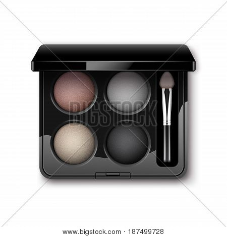 Vector Round MultiColored Pastel Light Cream Pink Violet Dark Purple Eye Shadows in Black Rectangular Plastic Case with Makeup Brush Applicator Top View Isolated on White Background