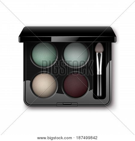 Vector Round MultiColored Pastel Light Cream Blue Turquoise Dark Vinous Eye Shadows in Black Rectangular Plastic Case with Makeup Brush Applicator Top View Isolated on White Background