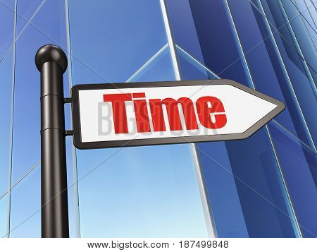 Time concept: sign Time on Building background, 3D rendering