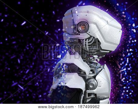 A portrait of a futuristic robot head in profile 3D rendering.