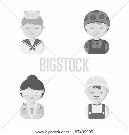 Sailor, soldier, scientist, builder.Profession set collection icons in monochrome style vector symbol stock illustration .