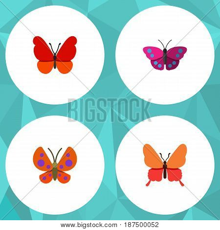 Flat Moth Set Of Moth, Danaus Plexippus, Monarch And Other Vector Objects. Also Includes Milkweed, Archippus, Butterfly Elements.