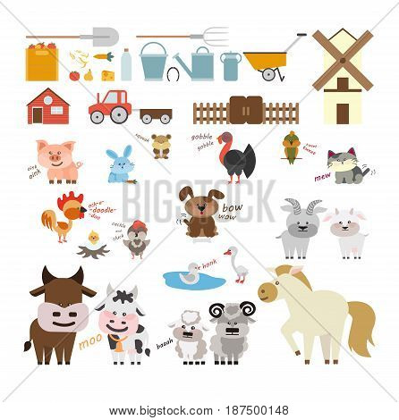 Farm animals and equipment set. Cow and horse, goat and dog and more.