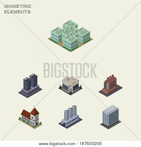Isometric Urban Set Of Office, Chapel, Tower And Other Vector Objects. Also Includes Building, Company, Firm Elements.