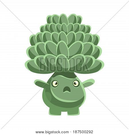 Cute cactus with frightened face. Cartoon vector Illustration isolated on a white background
