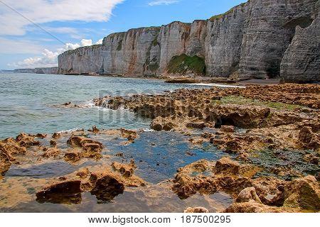 Normandy limestone cliffs with its beautiful shape