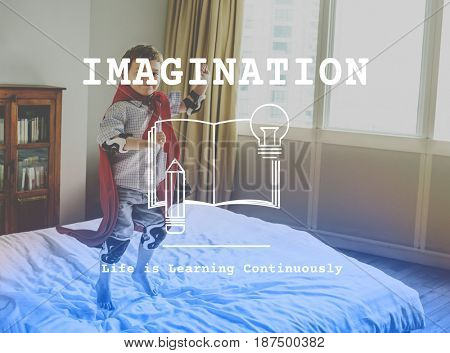 Little Kid with Imagination Word Book Graphic