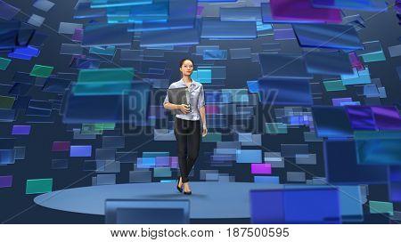 woman in virtual broadcasting studio, 3d illustration
