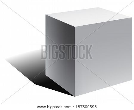 Vector 3d cube with shadow in perspective. Vector illustration.