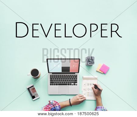 Website Developer Homepage Design Template Content Graphic Word