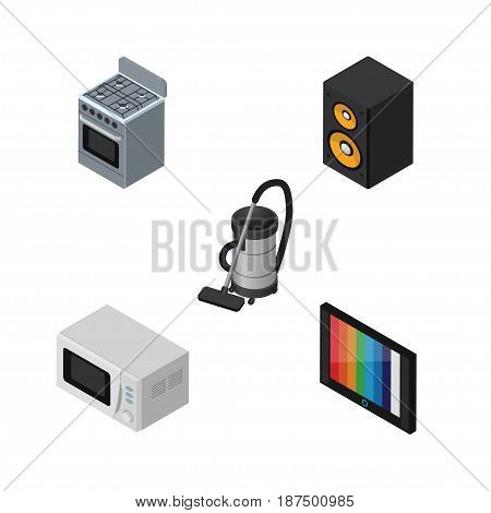 Isometric Device Set Of Music Box, Microwave, Stove And Other Vector Objects. Also Includes Vacuum, Cleaner, Box Elements.