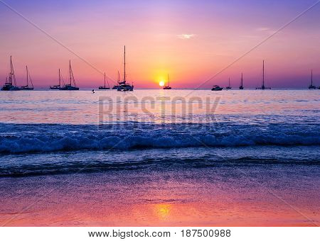 Beach sand seascape landscape nature in twilight with colorful of sunset and sunbeam