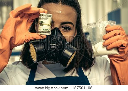 Young Girl Laboratory Technician In Personal Protective Equipment, Chemical Lab