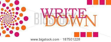 Write down text written over pink orange background.