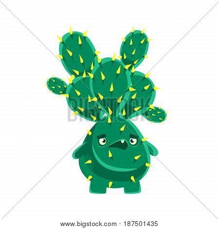 Spiny cactus speaking. Cartoon emotions character vector Illustration isolated on a white background