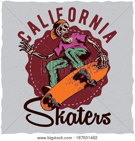 Skateboard t-shirt label design with illustration of skeleton playing skateboard. Hand drawn illustration.