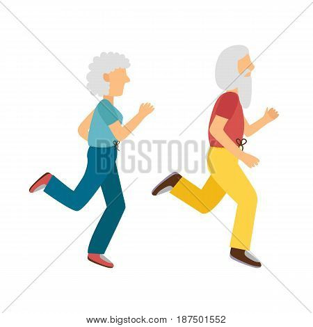 Vector illustration with cartoon running old woman man. Cartoon character. Old people activity. Vector gym or outdoor healthy lifestyle. Sport adult old people. Cartoon active old people background