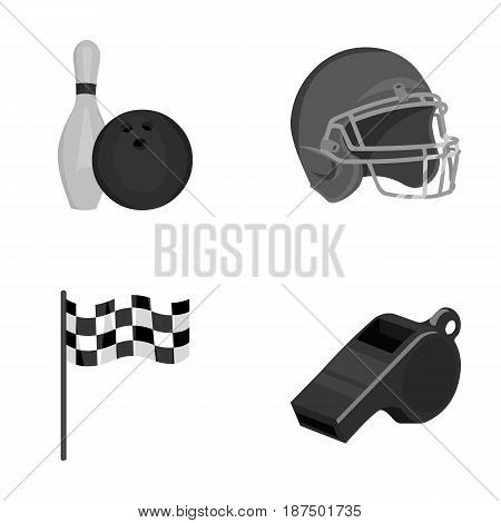 Bowl and bowling pin for bowling, protective helmet for playing baseball, checkbox, referee, whistle for coach or referee. Sport set collection icons in monochrome style vector symbol stock illustration .