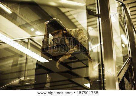 Adult Man Sitting Look Worried on The Stairway