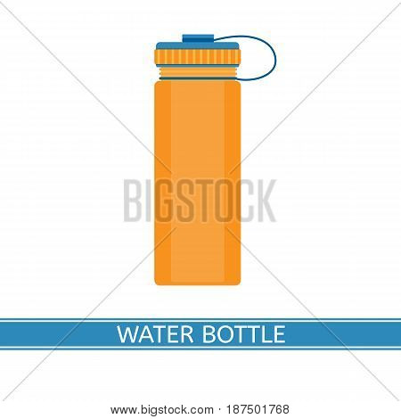 Water bottle vector icon for camping sport hiking fishing outdoor activities. Isolated on white background flat style.