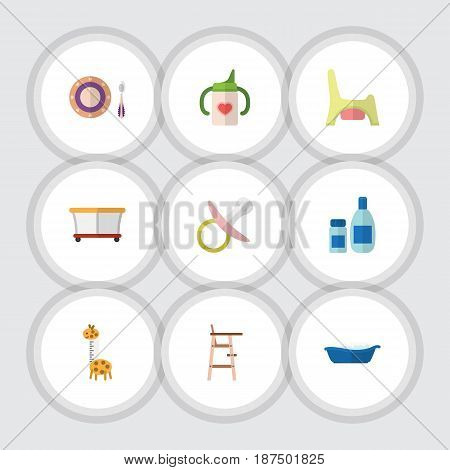 Flat Child Set Of Toilet, Cream With Lotion, Playground And Other Vector Objects. Also Includes Toy, Cream, Pacifier Elements.