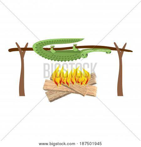 Grilled Crocodile Meat On Spit. Roasting Alligator. Bbq Croc