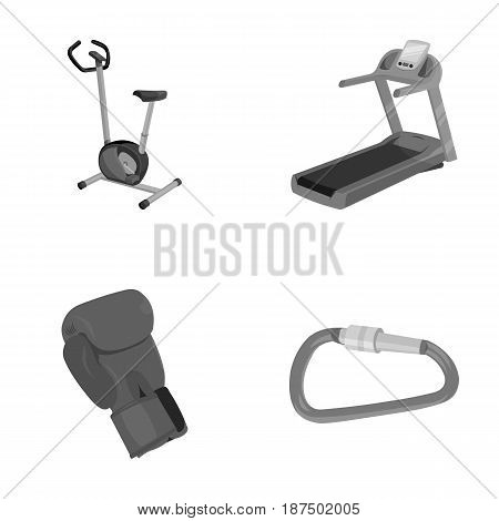 Exercise bike, treadmill, glove boxer, lock. Sport set collection icons in monochrome style vector symbol stock illustration .