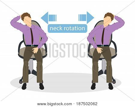 Sport exercises for office. Office yoga for tired employees with chair. Neck stretching.