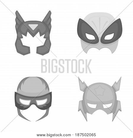 Mask on the head, helmet.Mask super hero set collection icons in monochrome style vector symbol stock illustration .