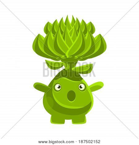 Cute surprised succulent emoji. Cartoon emotions character vector Illustration isolated on a white background