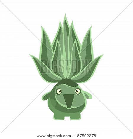 Green laughing succulent emoji. Cartoon emotions character vector Illustration isolated on a white background