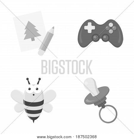 Picture, dzhostik, bee, nipple.Toys set collection icons in monochrome style vector symbol stock illustration .