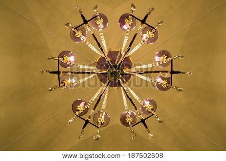 Luxury Glass Chandelier from buttom view