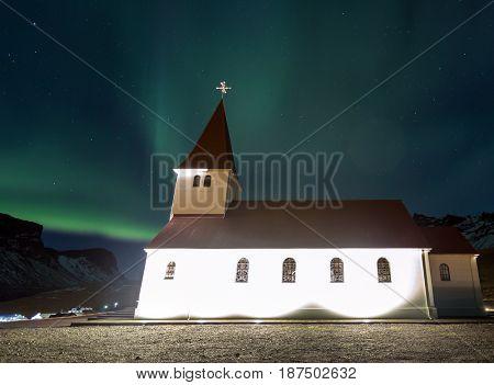 The Northern Lights Aurora borealis at Vik Church Iceland