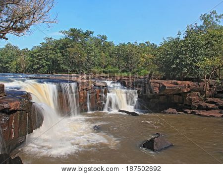 beautiful scenic of waterfall Tadtone in climate forest of Thailand