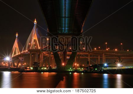 Mega Sling Bridge at Bangkok harbor