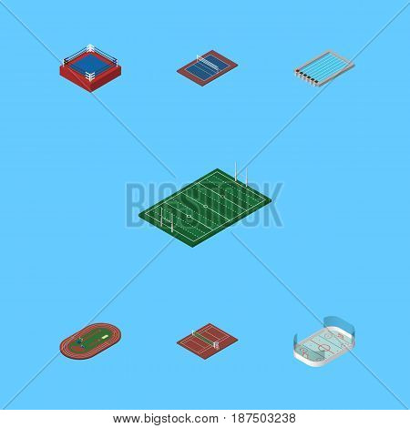 Isometric Competition Set Of Tennis, Volleyball, Basin And Other Vector Objects. Also Includes Ice, Football, Playground Elements.