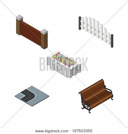 Isometric Urban Set Of Sitting, Barricade, Barrier And Other Vector Objects. Also Includes Turn, Barrier, Wall Elements.