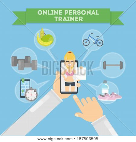 Personal fitness trainer online. Smartphone with icons.