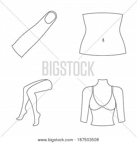 Finger, female feet, female, bust. Part of the body set collection icons in monochrome style vector symbol stock illustration .