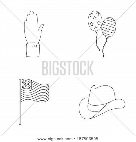 Balloons, national flag, cowboy hat, palm hand.Patriot day set collection icons in outline style vector symbol stock illustration .