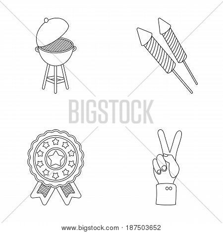 Barbecue, salute, voting ebblema, victory. The patriot's day set collection icons in outline style vector symbol stock illustration .