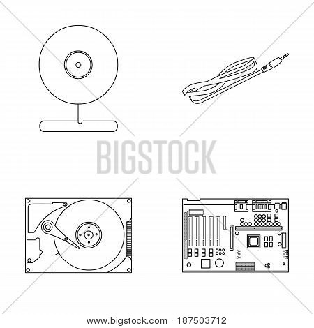 Webcam, motherboard and other equipment. Personal computer set collection icons in outline style vector symbol stock illustration .