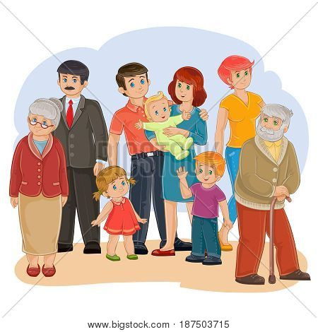 Vector illustration of a happy family of nine people - great-grandfather, great-grandmother, grandfather, grandmother, dad, mom, daughter, son and baby - posing together