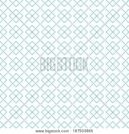 Geometric seamless pattern. Blue abstract background with square shape elements and dotted lines. Vector illustration