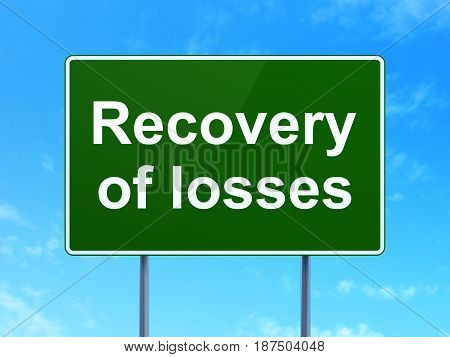 Money concept: Recovery Of losses on green road highway sign, clear blue sky background, 3D rendering